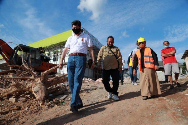 Walikota Tanjungpinang Rahma S.IP saat pantau langsung progres pekerjaan proyek di Tanjungpinang