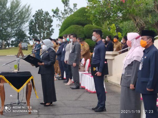 Walikota Tanjungpinang Rahma S.IP saat memimpin Pelantikan Jabatan Eselon III dan IV di Lingkup Pemko Tanjungpinang