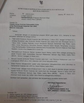 Program BPUM bagi pelaku UMKM dari Pemerintah Pusat