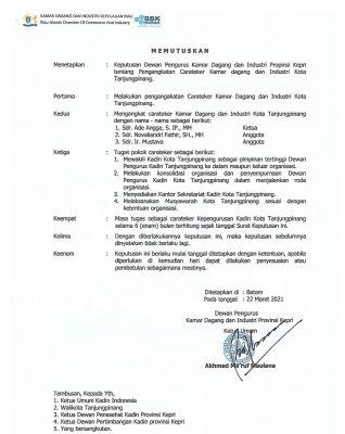 SK Dewan Pengurus Kadin Provinsi Kepri, memutuskan Carateker Ketua Kadin Kota Tanjungpinang