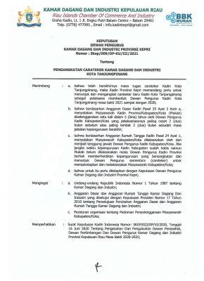 SK Dewan Pengurus Kadin Provinsi Kepri
